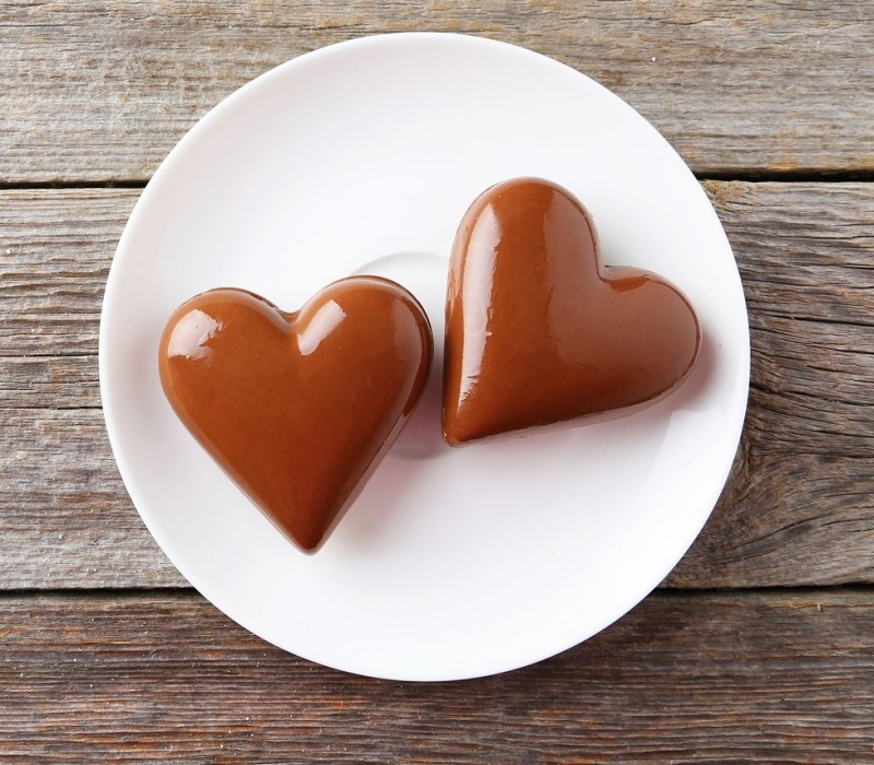 Chocolate Heart On Plate On Grey Wooden Background